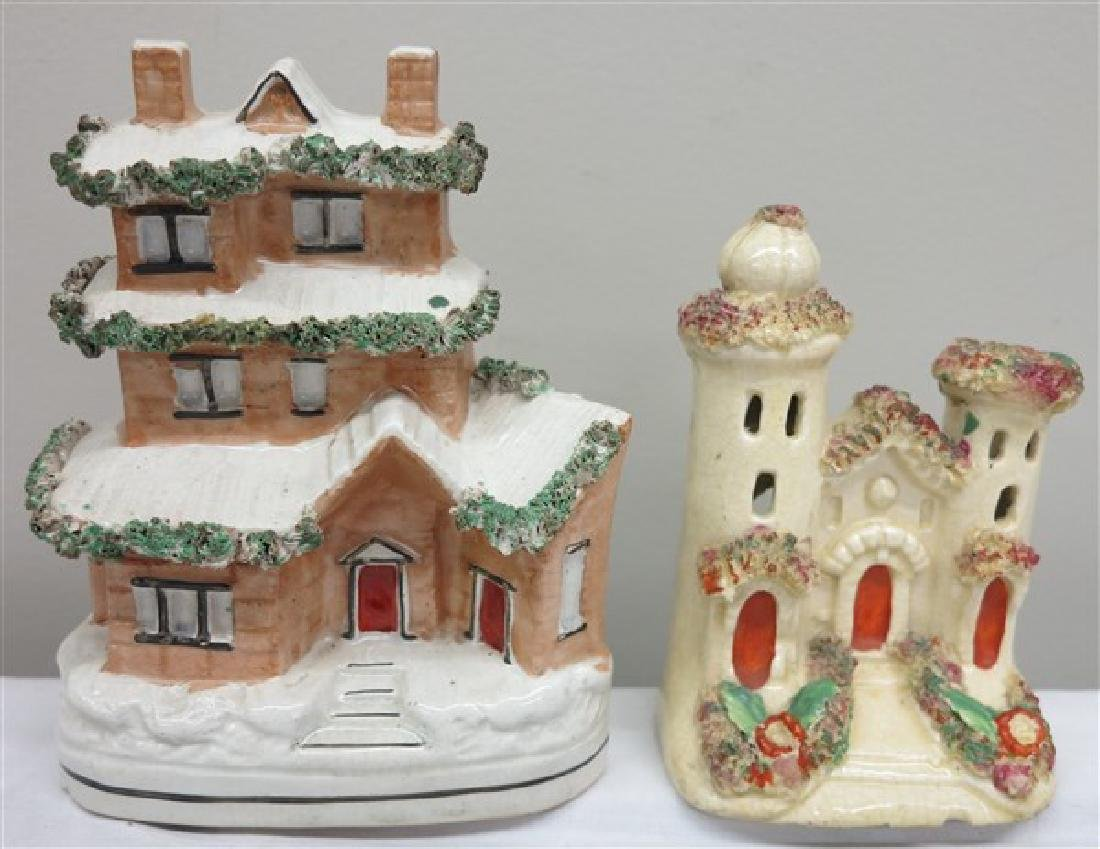 2 Pc. Staffordshire Lot, country cottages