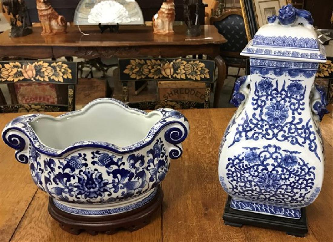 2 piece modern blue and white porcelain