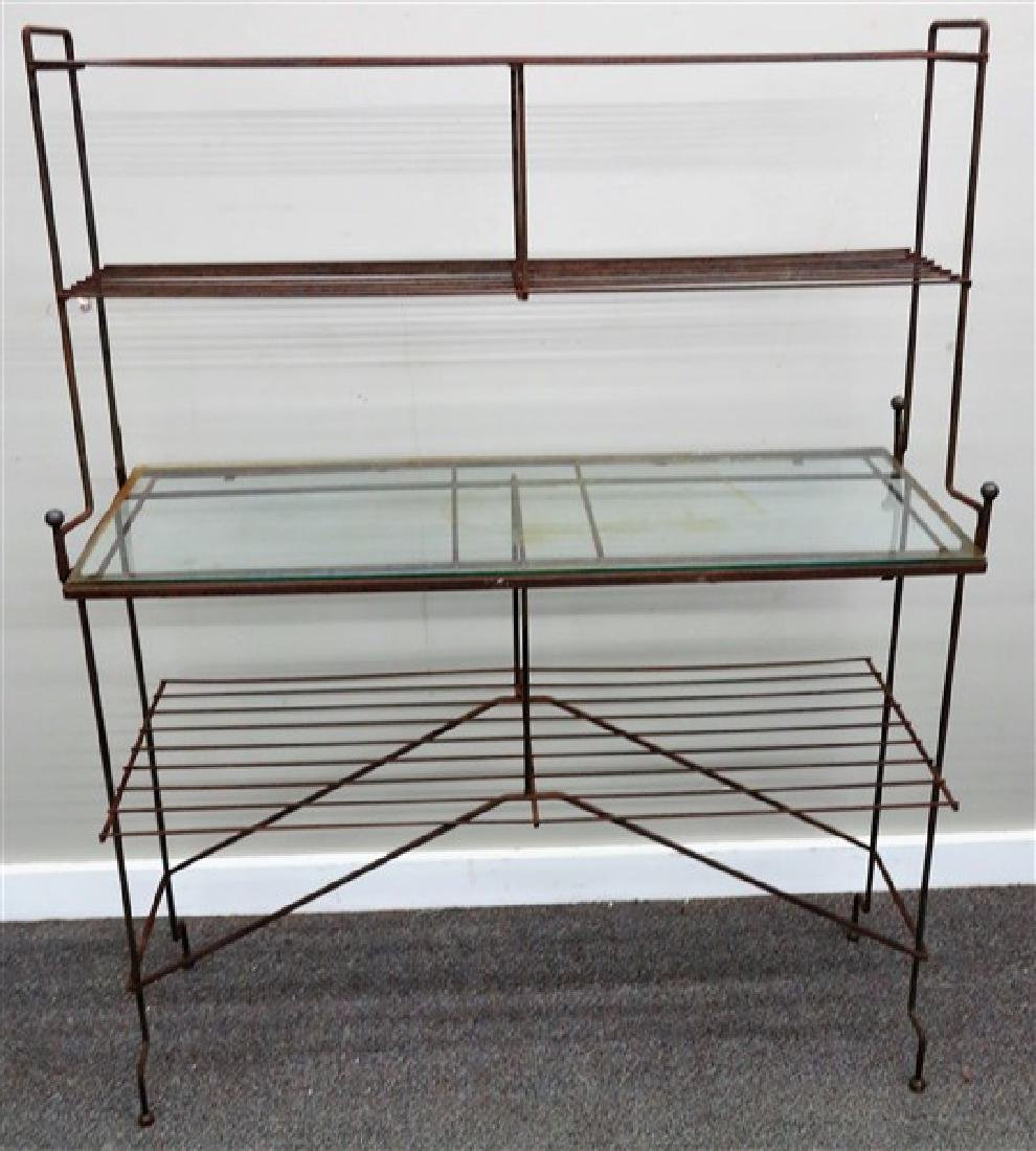 Iron and glass garden stand