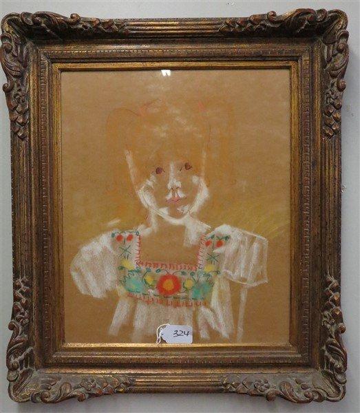 Framed pastel of child