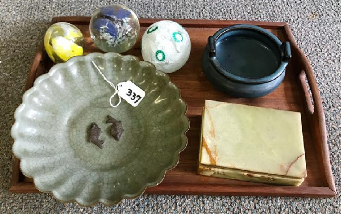Tray lot of paper weights & pottery