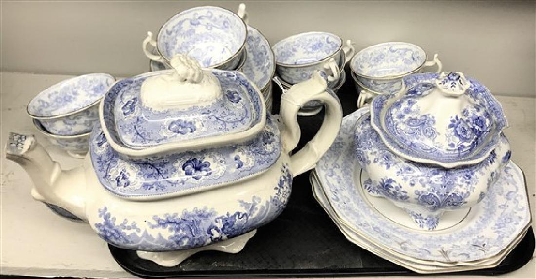 Blue & white 19th cent tea service