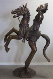 "80"" Bronze Horse & Rider Sculpture"