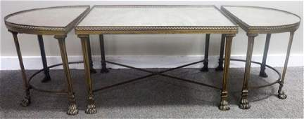 3 Part Bronze and mirror glass low table