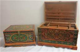 2 paint decorated boxes