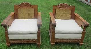 2 Carved Oriental Arm Chairs- Philippine Narra Wood