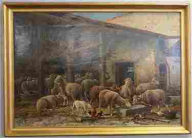 Extra Nice Ptg of Sheep, sgnd & dated 1888 38x55