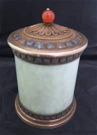 "5"" jade and enamel covered jar"