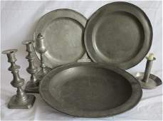 7 piece early pewter lot