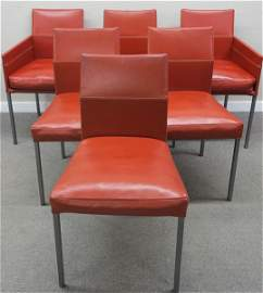 6 hand stitched KFF leather chairs