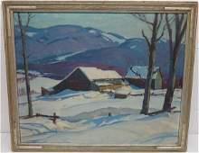 Fine o/c winter scene by A.T. Hibbard  28 X 33