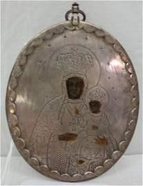 "Antique silver icon 4 1/2""h X 3 1/4""w 2oz"