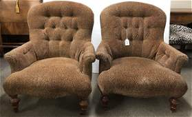 Pair of upholstered club chairs
