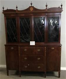 19th Cent. 3 Part Inlaid American Breakfront