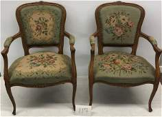 Pr French Needlepoint Armchairs