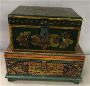 Two Contemporary Paint Decorated Boxes