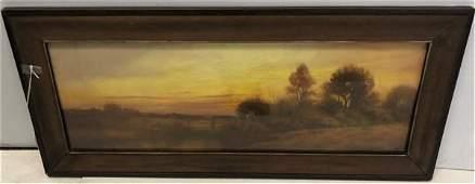"Fall Landscape, 19th Cent. Pastel 14.5""x32.5"""