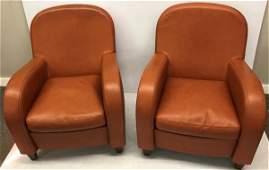 Pr of Poltrona Frau Leather Club Chairs