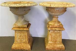 Pr. of 2 part Cast Iron Urns