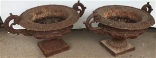 "Pr of Double Handle 11"" Cast Iron Urns"
