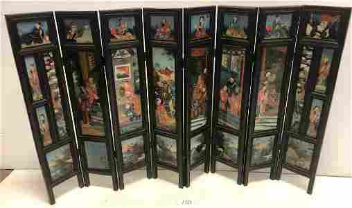 "8 Panel Antique Familial Screen 29 1/2"" high"