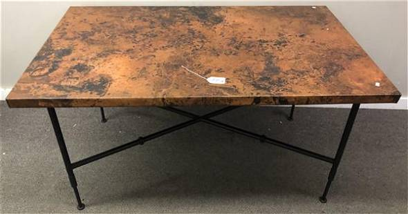 """Hand Hammered Copper Top Iron Table 54""""x 32""""x 29""""h"""