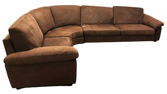 3 Pc. Suede Sectional By Duviuier