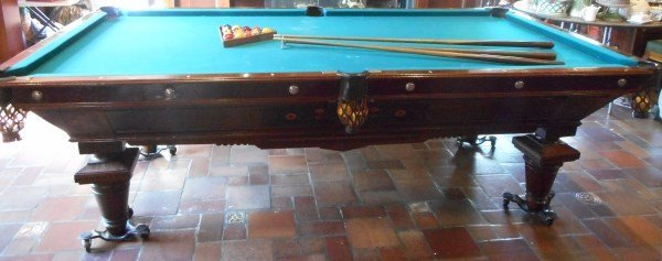 Antique Brunswick Inlaid Rosewood Pool Table