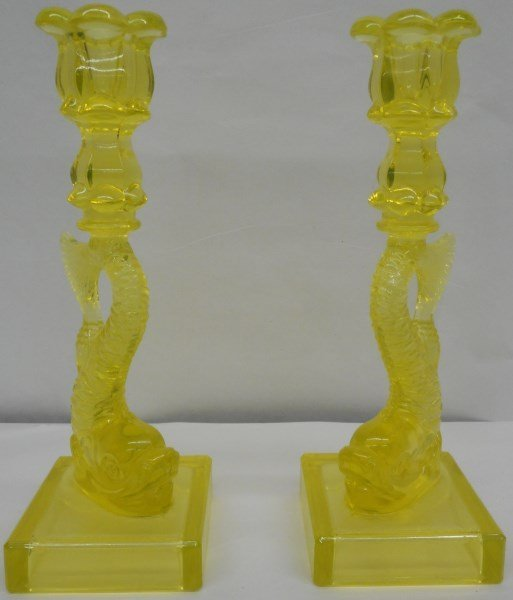Pr Sandwich Glass Candlesticks with Dolphins