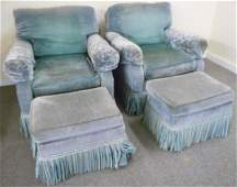 Pr Blue Club Chairs with Ottomans