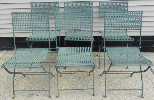 6 Folding Metal Garden Chairs