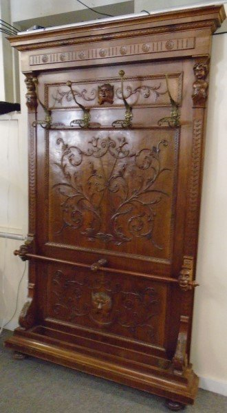 Exceptional Paneled Walnut Hall Tree
