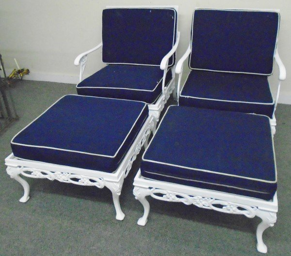 2 Brown Jordan Garden Chairs with Ottomans/Tables