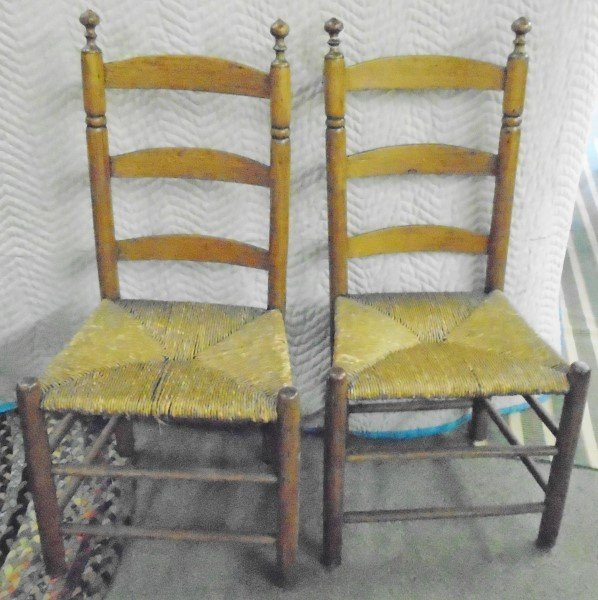 Pr. Ladder back 18th Cent Side Chairs