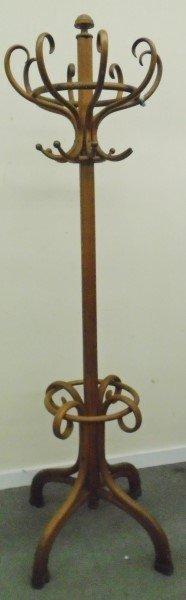 Walnut Finish Bentwood Hat Coat Rack with Umbrella Stand