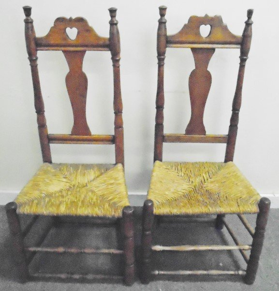 (2) 18th Century CT, Heart Cut out Side Chairs