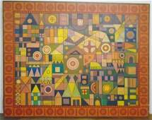 Large 50 x 64 Abstract oc Signed Martin Rosenthal