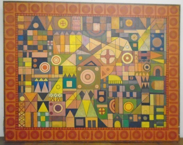 "Large 50"" x 64"" Abstract o/c Signed Martin Rosenthal"