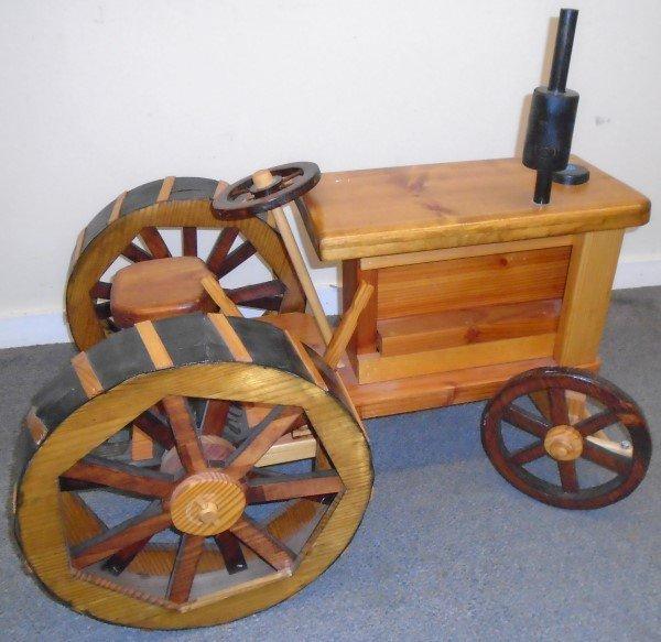 Real Fun Mixed Wood Folk Art Tractor