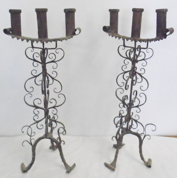 "2 24"" Black Iron Candlesticks"