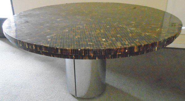 "60"" Table with Shaved Horn Laminated Top and Metal Base"