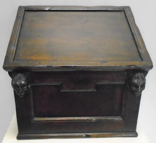 Very Interesting Gothic Slant Lid Walnut Box with Cats