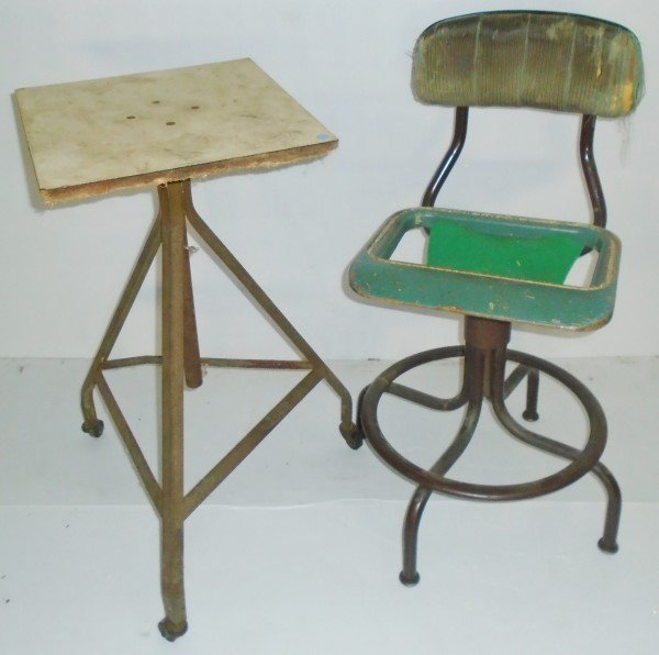 2 Pc. Industrial Lot- Chair and Sculpture Stand