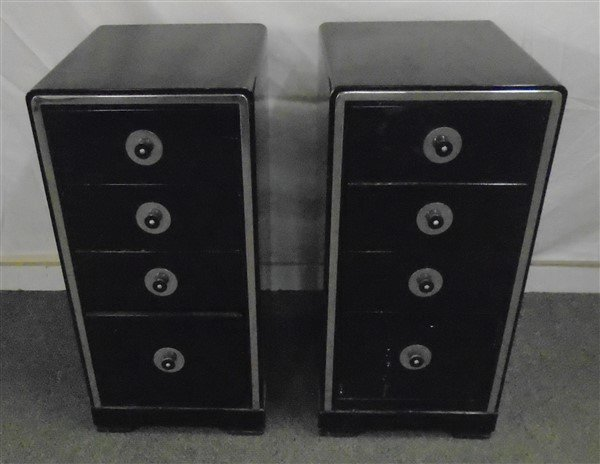 Pair of Simmons Steel & Chrome Night Tables