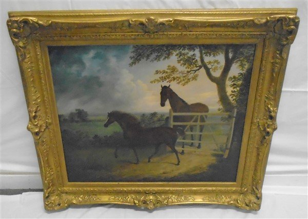 Very Nice Oil on Canvas Equestrian Painting Nicely