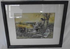 Lovely Country Watercolor, Signed Flora Maclean Reeder