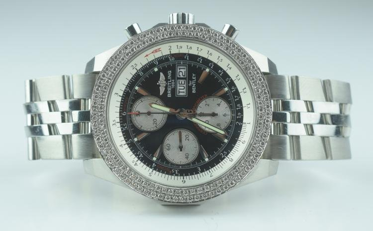Breitling for Bentley Stainless Steel with Diamonds