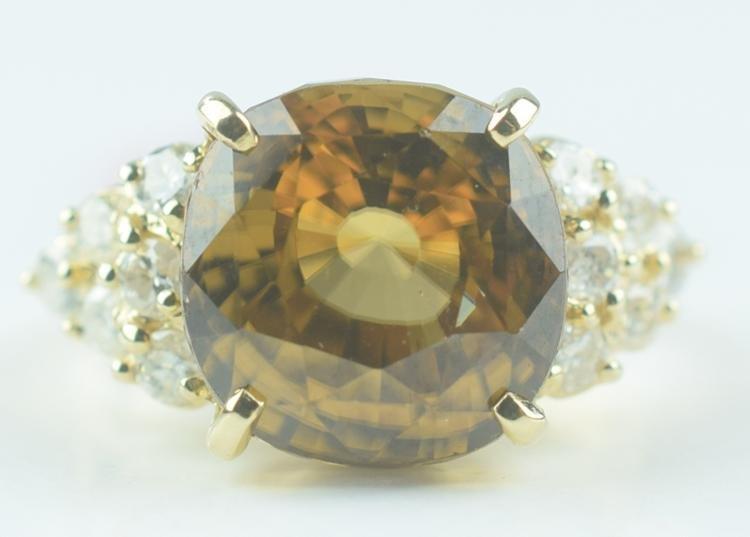 Gold Zircon & Diamond Ring