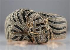 Gold Diamond & Emerald Bangle Bracelet