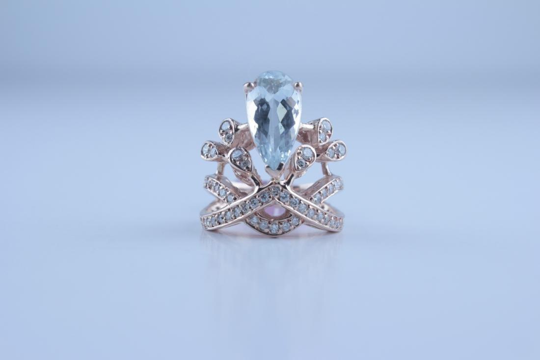 Aquamarine & Diamond Rose Gold Ring